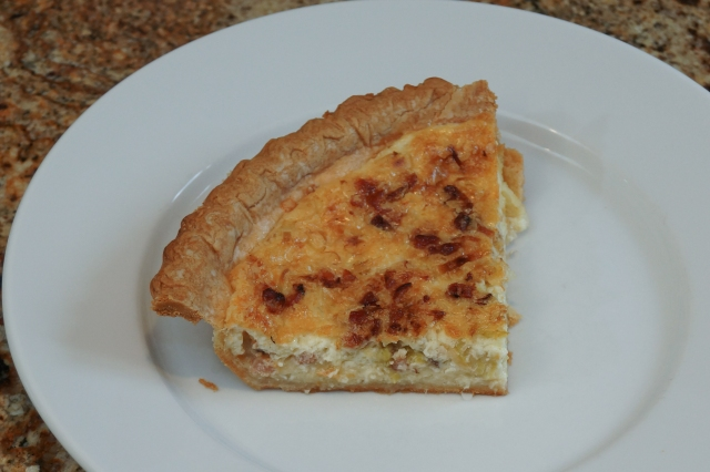 A quarter of the the small quiche is just right for dinner.