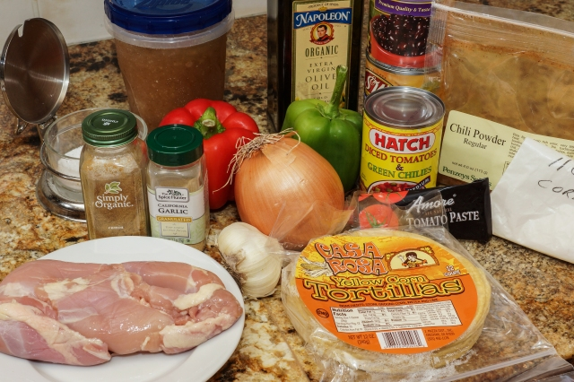 Line up of ingredients for tortilla soup