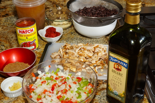 Ingredients ready for adding to tortilla soup.
