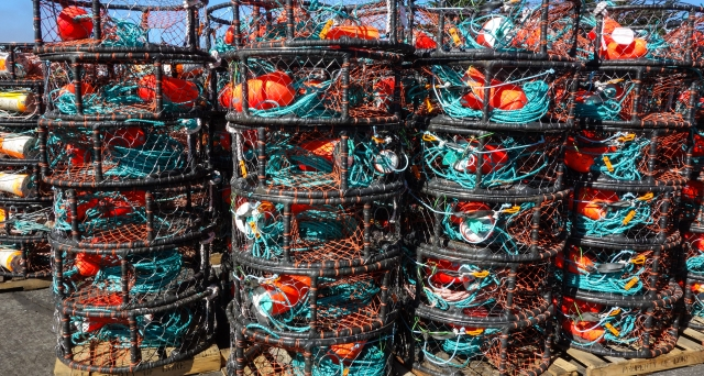 Crab pots waiting to be loaded on boats. Half Moon Bay, CA