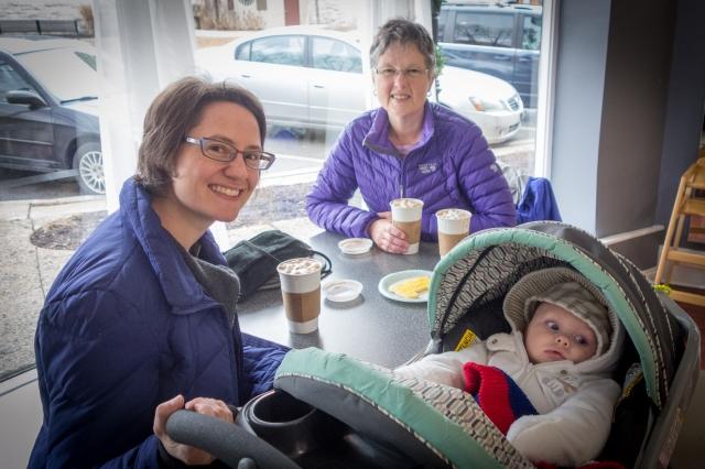 Henriët, Carla and Jurgen at Fiore bakery in Riverside, IL