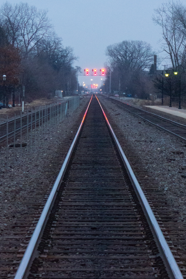 Overhead train signals as far as the camera can see