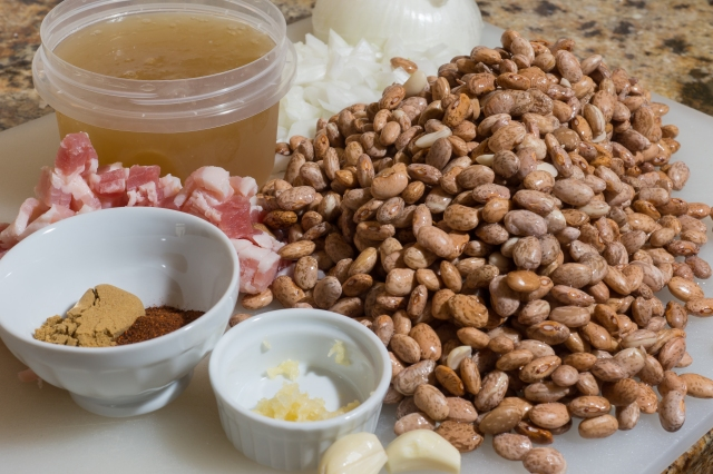 Ingredients for pinto bean perfection.