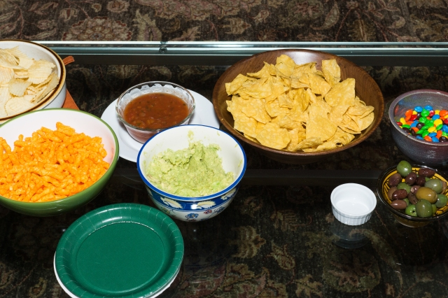 Snacks laid out for the Super Bowl