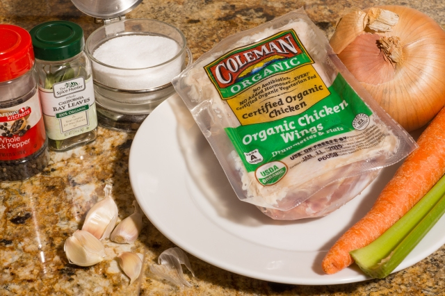 Ingredients for simple chicken stock