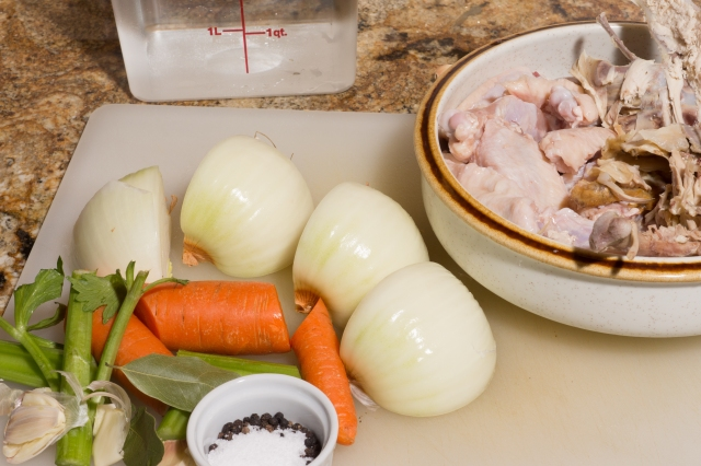 Prepped ingredients for chicken stock