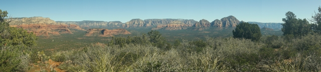 Panorama looking east from the mesa  Doe Mountain trail in Sedona
