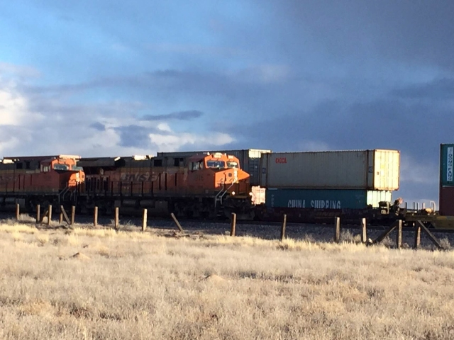 Passing trains in Seligman, Arizona