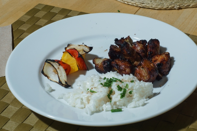 Dinner is served: kabob, jasmine rice in coconut milk, and vegies.