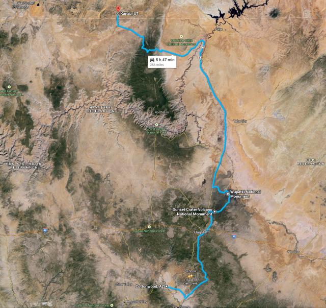 Our route through Northern Arizona