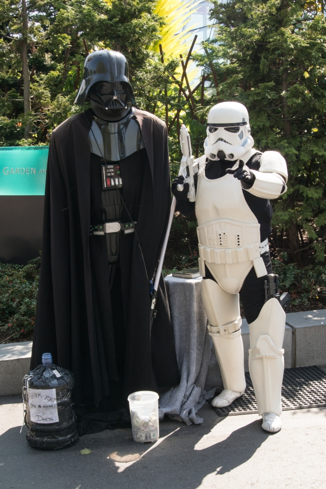 Darth Vader and a Storm Trooper hanging out at the Seattle Center