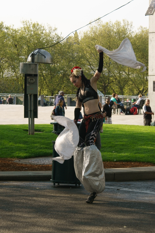 Woman dancing on stilts at the Seattle Center