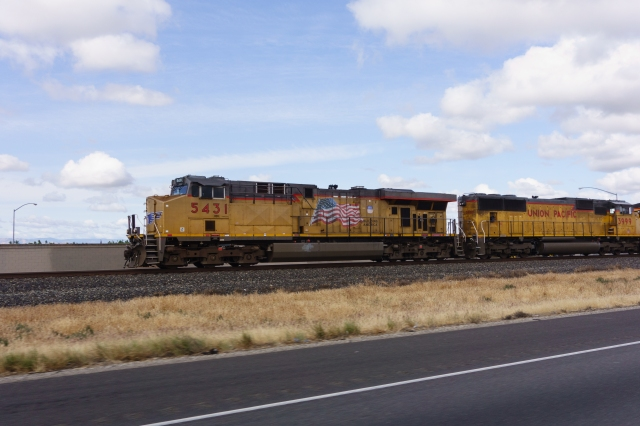Union Pacific freight headed south parallel to Highway 99 between Sacramento and Fresno