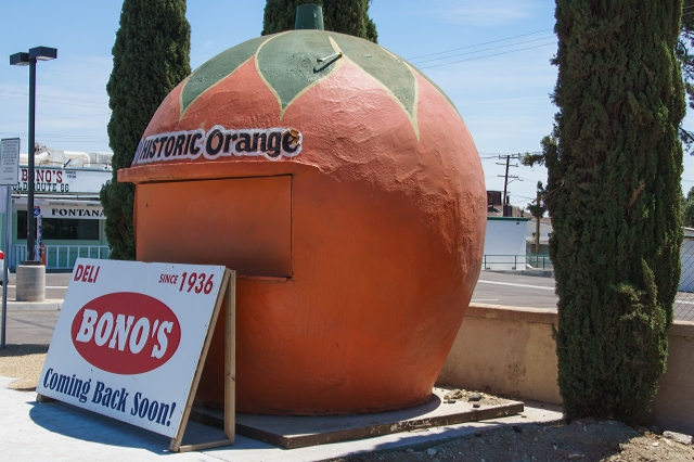 An old orange stand in Fontana, California