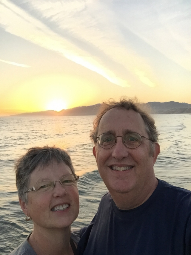 Our first selfie: Carla and Howard on the Santa Monica pier at sunset.
