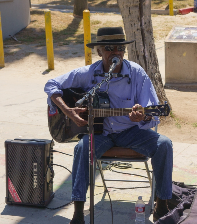 Blues playing man at Venice Beach, California