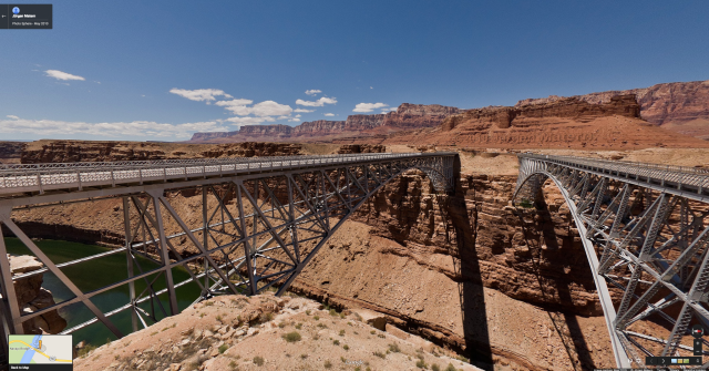 Google street view of the bridge across the Colorado River at the top of the Grand Canyon. (Photo credit to Jurgen Matern)