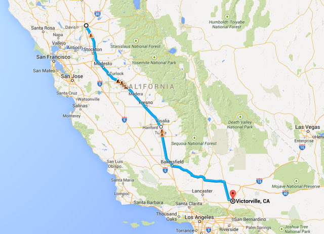Sacramento to Victorville Trip overview