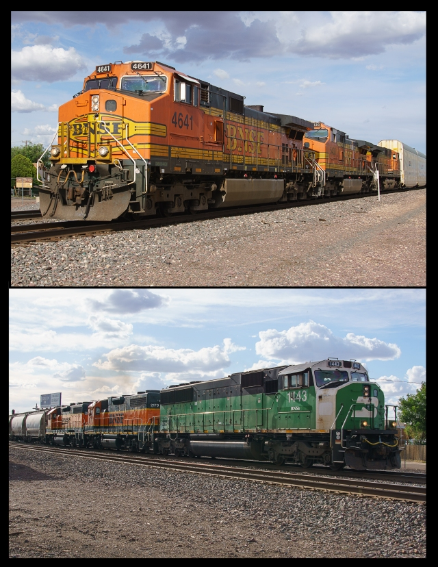 Trains passing through Holbrook, Arizona