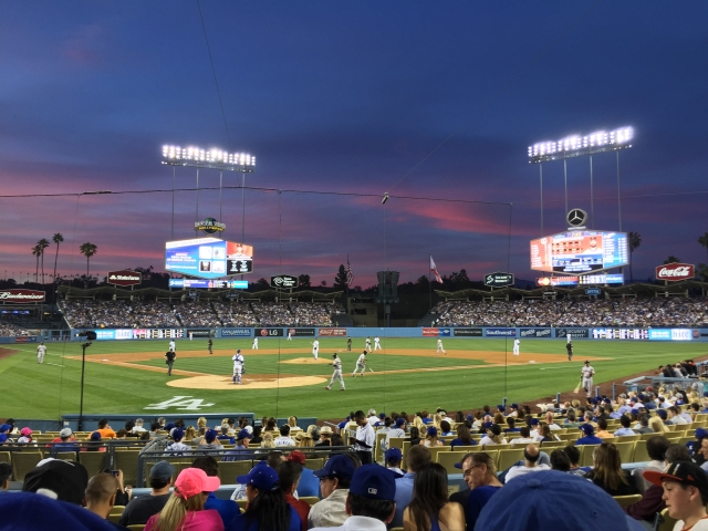 Dodger Stadium as seen from our field level seats.