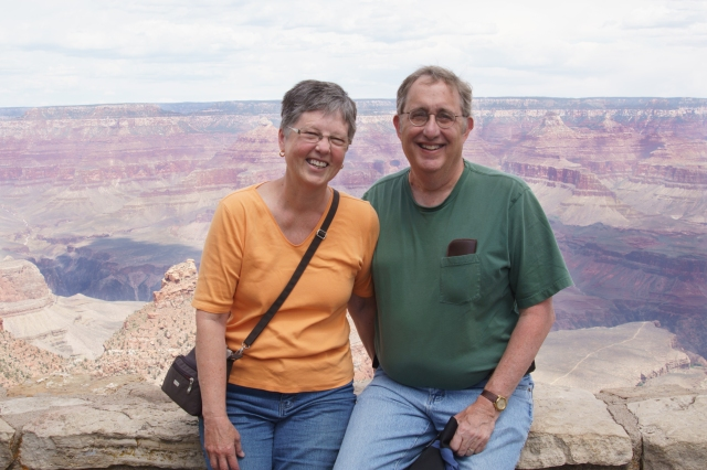 Carla and Howard enjoying the south rim of the Grand Canyon