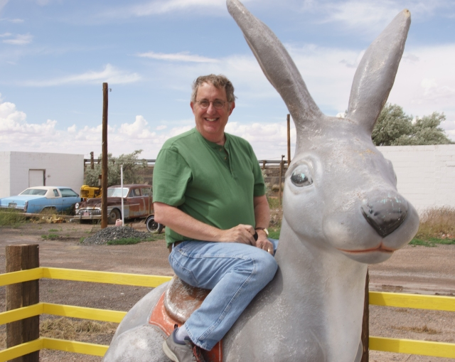 Howard  riding the rabbit at Jack Rabbit Trading Post.