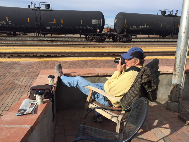 Howard checking on a westbound BNSF freight at La Posada