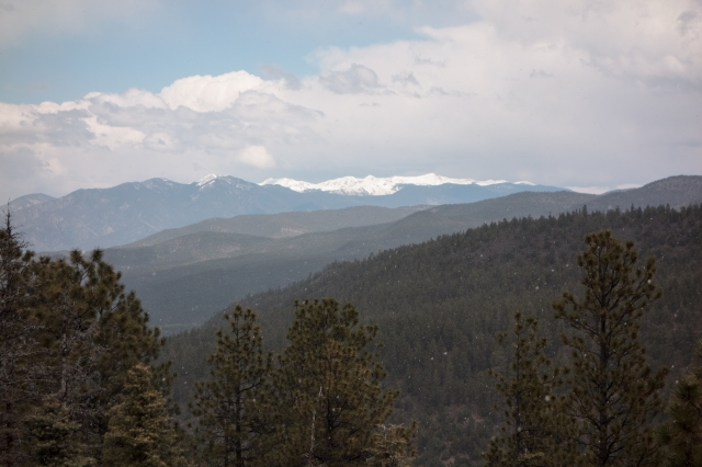 Wintry weather in the New Mexico mountains on the way to Taos.