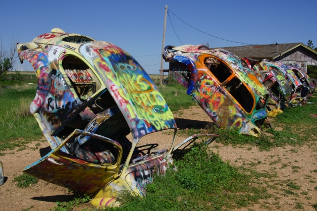 Bug ranch - an ironic response to Cadillac Ranch in Conway, Texas