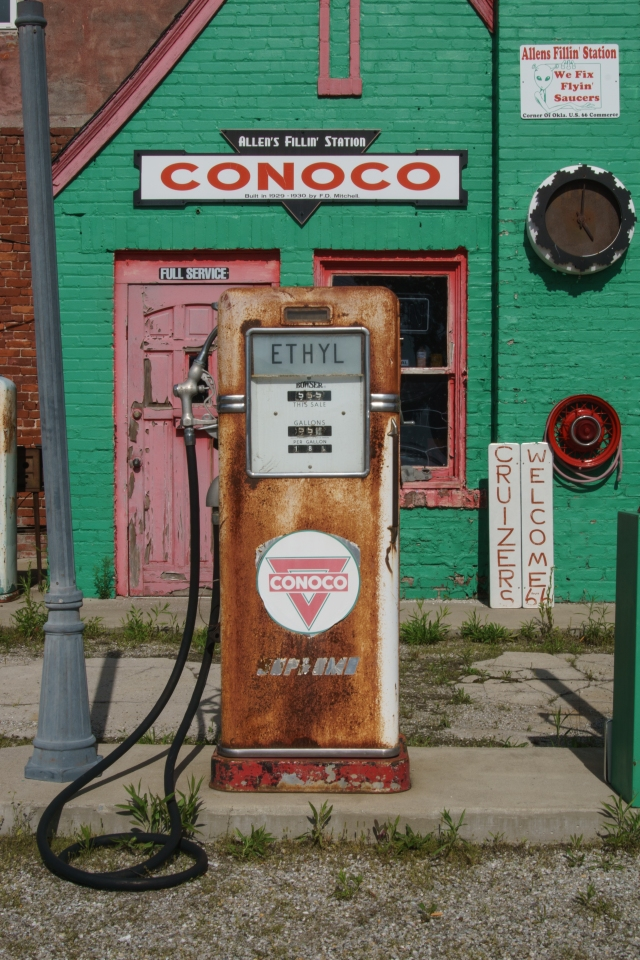 Gas pump in Commerce, Oklahoma