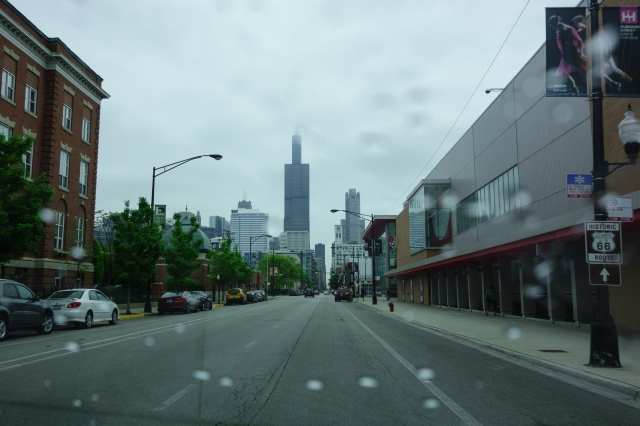 Willis Tower in the distance on the last stretch of our Route 66 trip.