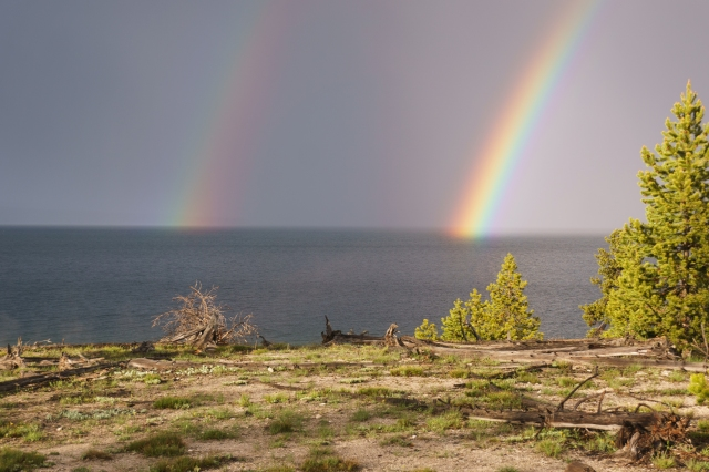 Double rainbow on Yellowstone Lake at Yellowstone National Park