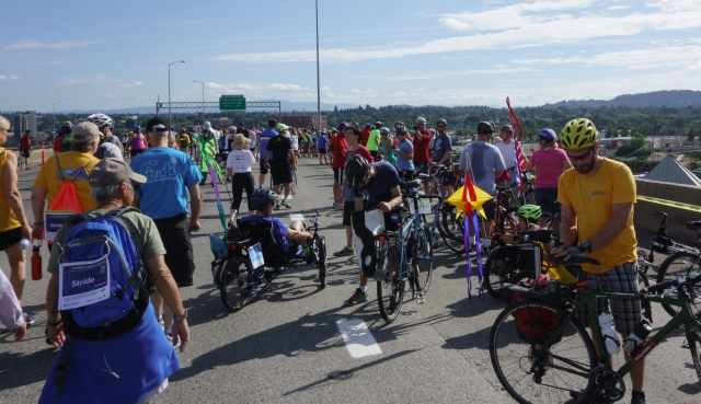 Providence Bridge Pedal and Stride participants on top of the Marquam bridge