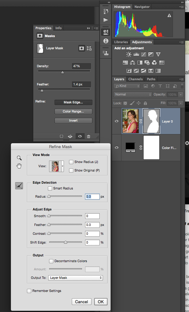 Photoshop Masking dialog box