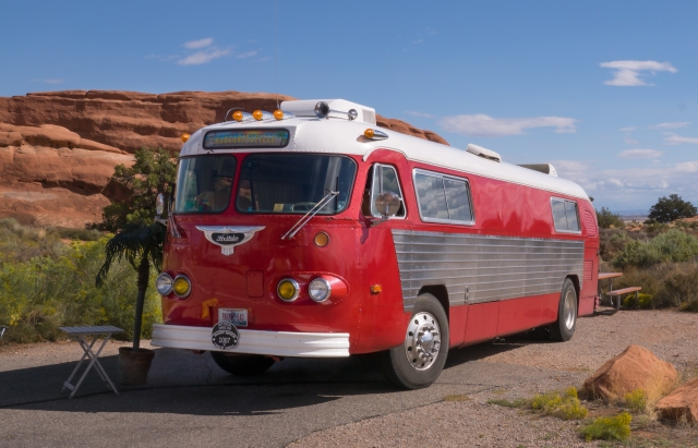 Margaritaville bus at the campground - Arches National Park