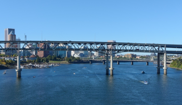 Marquam Bridge and downtown Portland from  Tilikum Crossing