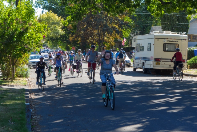 Bike riders at Portland Sunday Parkways - Southeast