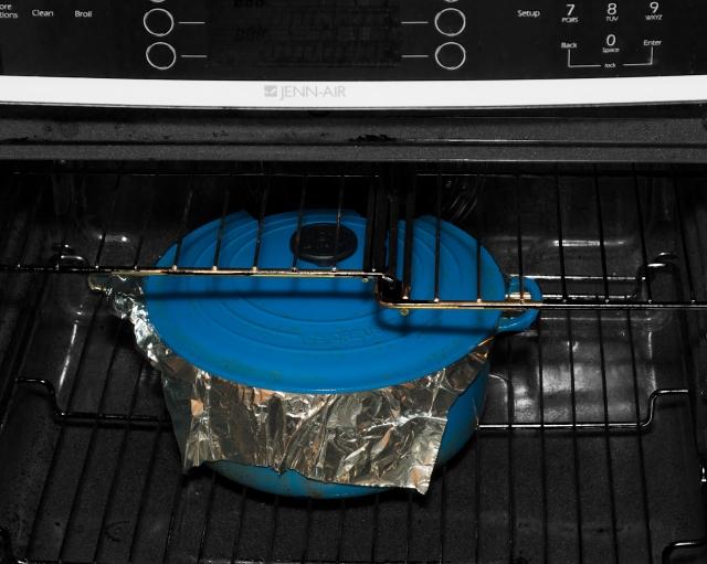 Turkey en Cocotte roasting in a sealed pot