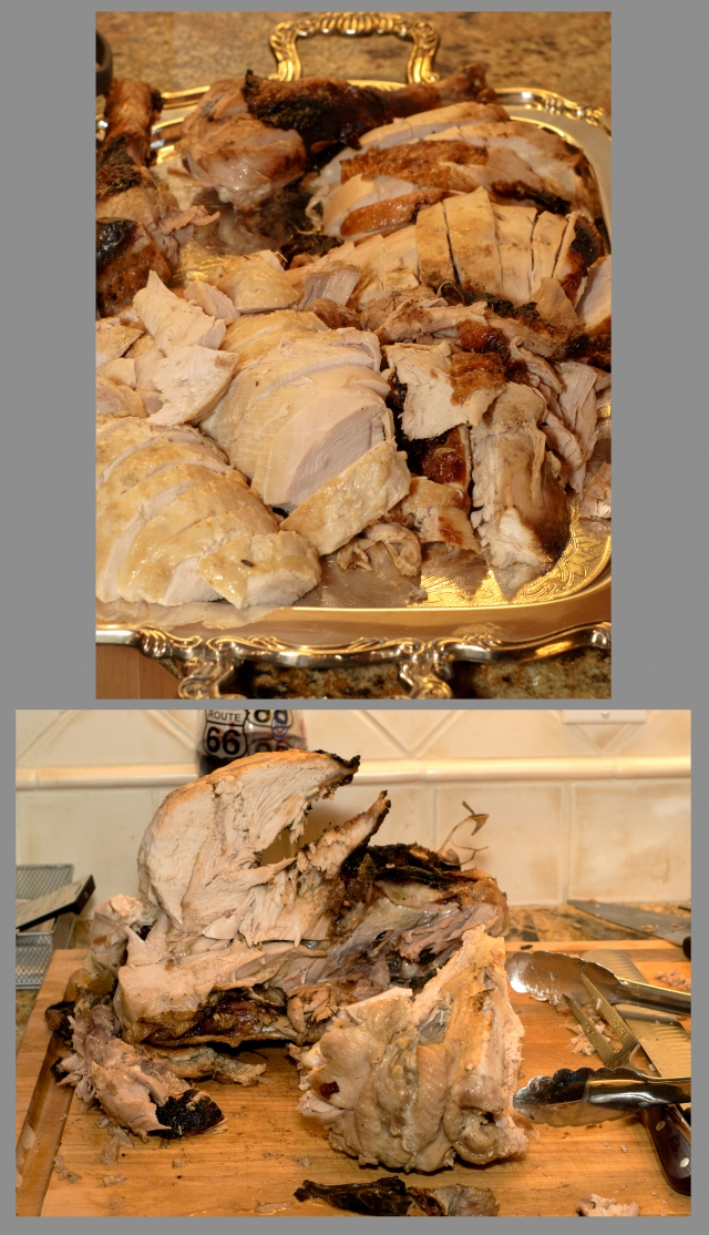 Carved turkeys and the carcasses