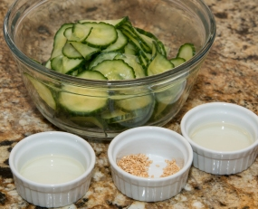 Korean sautéd cucumber mise en place