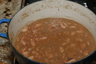 Red beans and rice ready for serving