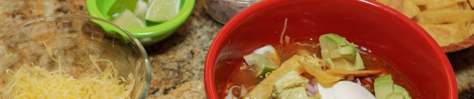 Slow cooker chicken tortilla soup banner photo