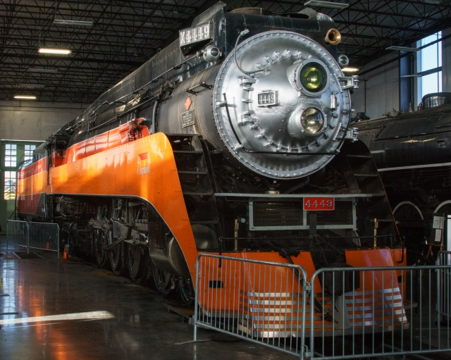 The old Southern Pacific 4449 Daylight steam locomotive at the Oregon Rail Heritage Center