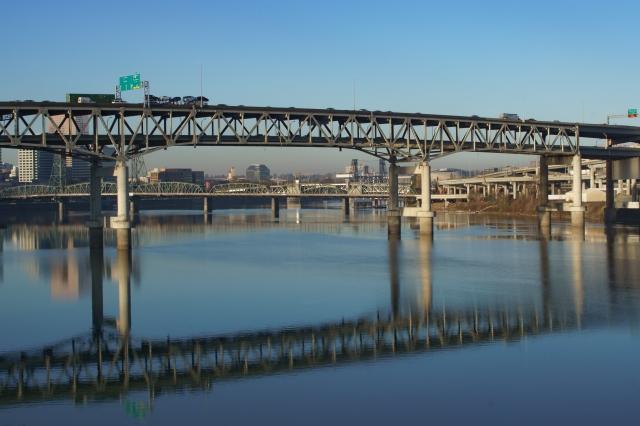 Portland bridges as seen from the Tilikum Crossing bridge in Portland