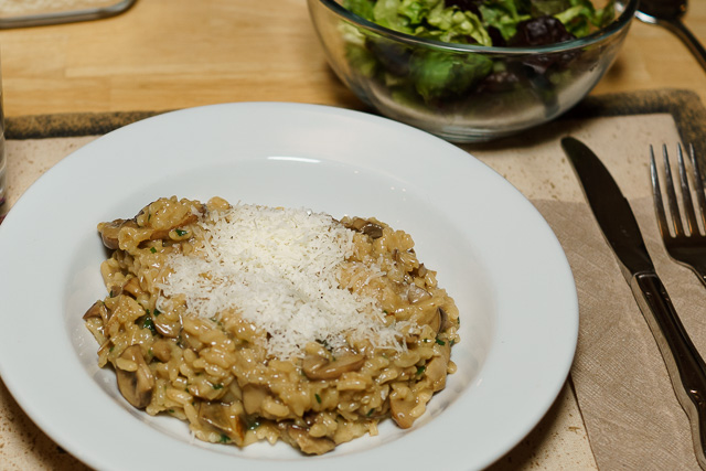 Dinner is served: mushroom risotto