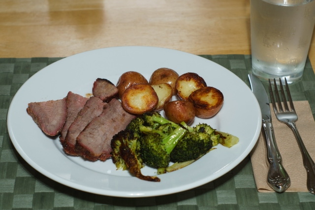 Tri-Tip roast with oven roasted broccoli and pan roasted potatoes
