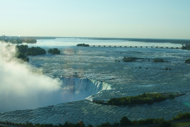 Low water volume early morning at Niagara Falls