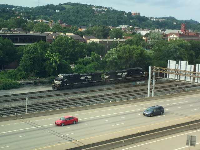Norfolk Southern Railroad just outside our hotel in Pittsburgh, PA