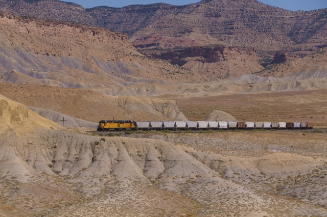 Small train hauling ore (most likely) in eastern Utah