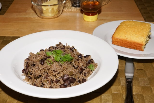 Dinner is served: black beans and rice